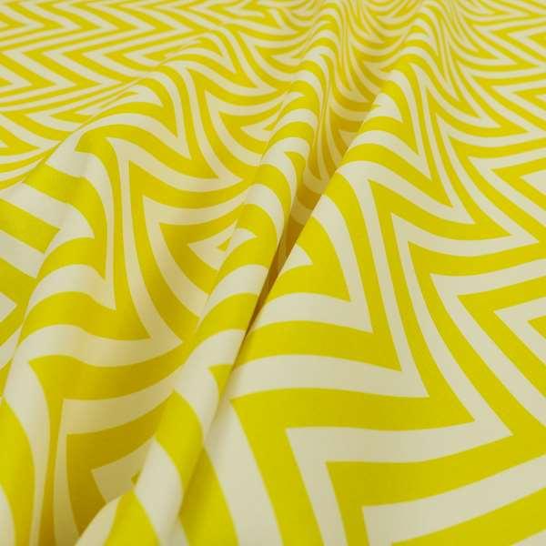 Freedom Printed Velvet Fabric Yellow White Chevron Colour Print Upholstery Fabric CTR-508