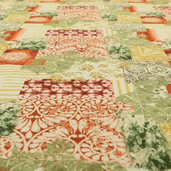 Freedom Printed Velvet Fabric Collection Patchwork Pattern Upholstery Fabric CTR-52