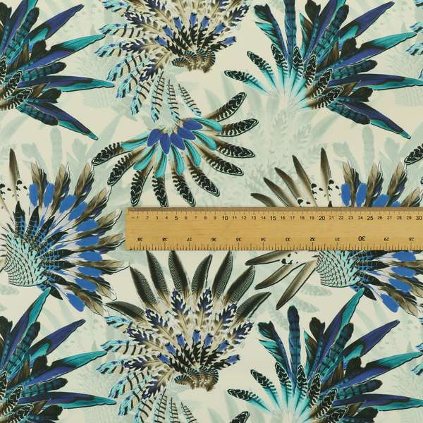 Freedom Printed Velvet Fabric Turquoise Blue Native American Pattern Upholstery Fabric CTR-529