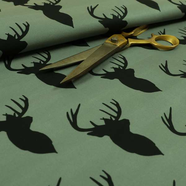 Freedom Printed Velvet Fabric Black Stag Head Animal Pattern Grey Upholstery Fabric CTR-535