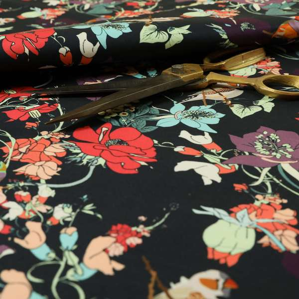 Freedom Printed Velvet Fabric Black Colourful Floral With Birds Pattern Upholstery Fabric CTR-541