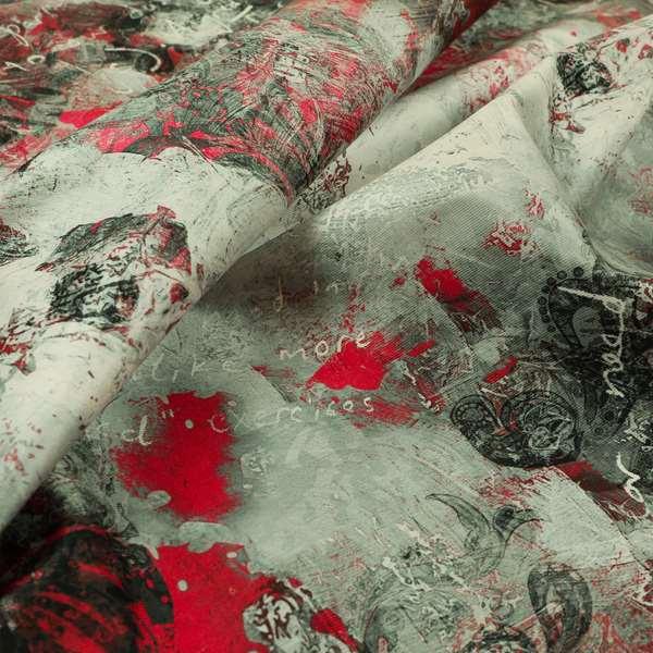 Freedom Printed Velvet Fabric Red Black Grey Abstract Art Modern Pattern Upholstery Fabrics CTR-544
