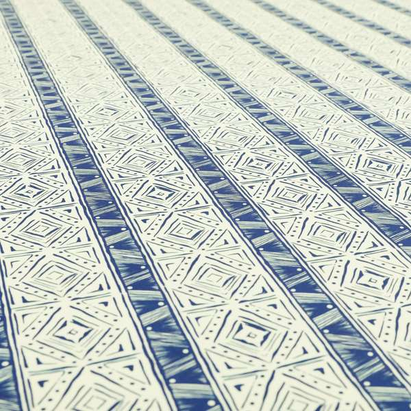 Freedom Printed Velvet Fabric Collection Tile Pattern In Blue Colour Upholstery Fabric CTR-55