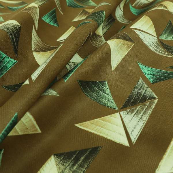 Freedom Printed Velvet Fabric Full Brown Colour Pyramid Geometric Pattern Upholstery Fabrics CTR-557