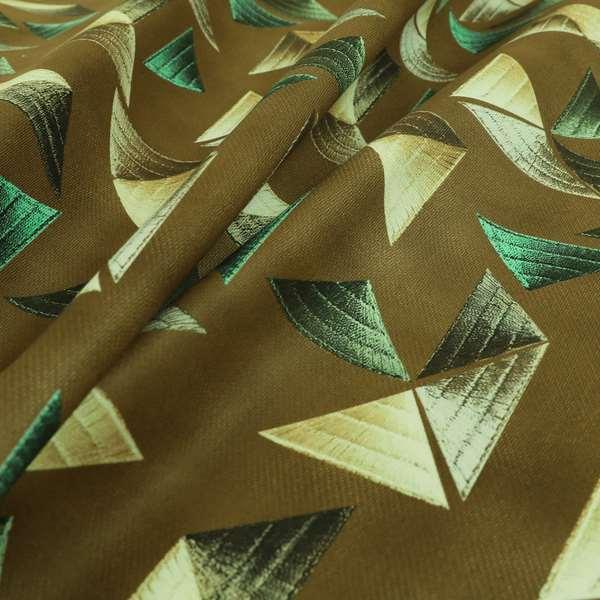 Freedom Printed Velvet Fabric Full Brown Colour Pyramid Geometric Pattern Upholstery Fabrics CTR-557