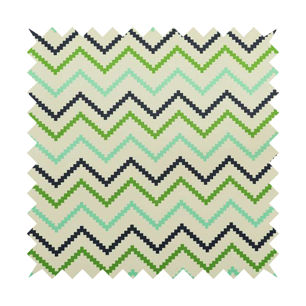 Freedom Printed Velvet Fabric Collection Geometric Chevron Pattern In Blue Green Colours Upholstery Fabric CTR-56