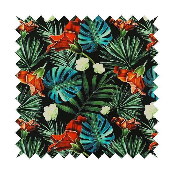 Freedom Printed Velvet Fabric Full Black All Over Jungle Leaf Floral Pattern Upholstery Fabrics CTR-560
