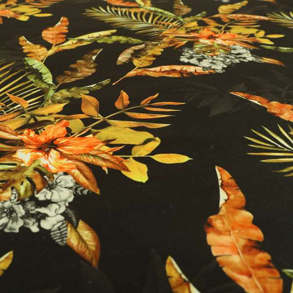 Freedom Printed Velvet Fabric Full Black Rustic Leaf Pattern Upholstery Curtain Fabrics CTR-568