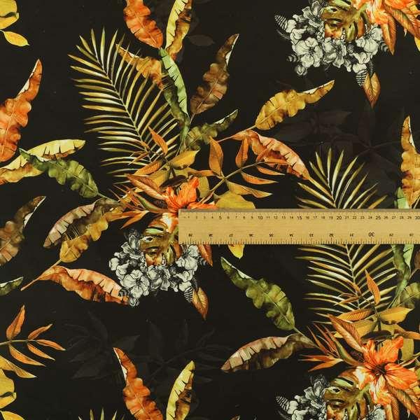 Freedom Printed Velvet Fabric Full Black Rustic Leaf Pattern Upholstery Curtain Fabrics CTR-568