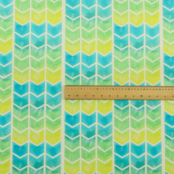 Freedom Printed Velvet Fabric Collection Chevron Pattern In Blue Green Colours Upholstery Fabric CTR-57