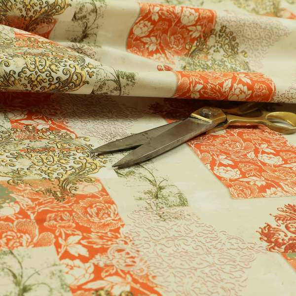 Freedom Printed Velvet Fabric Collection Traditional Floral Pattern In Orange Colours Upholstery Fabric CTR-58