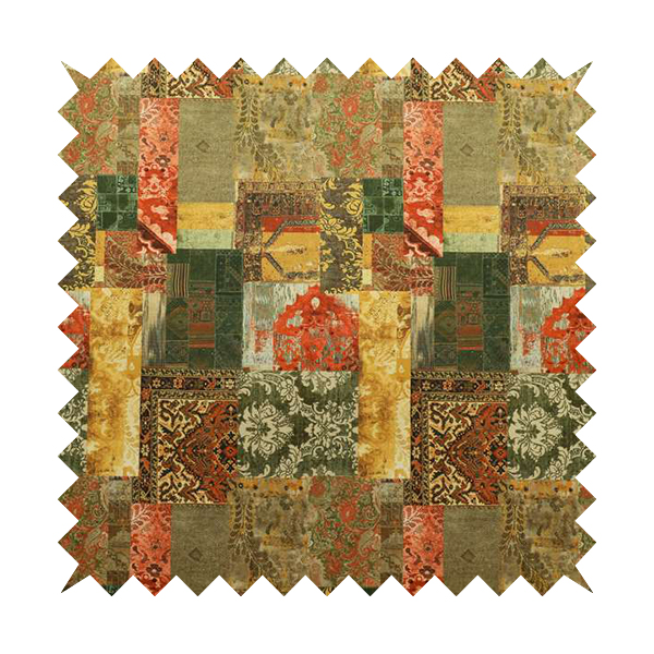 Freedom Printed Velvet Fabric Collection Patchwork Pattern In Bronze Orange Green Colour Upholstery Fabric CTR-59