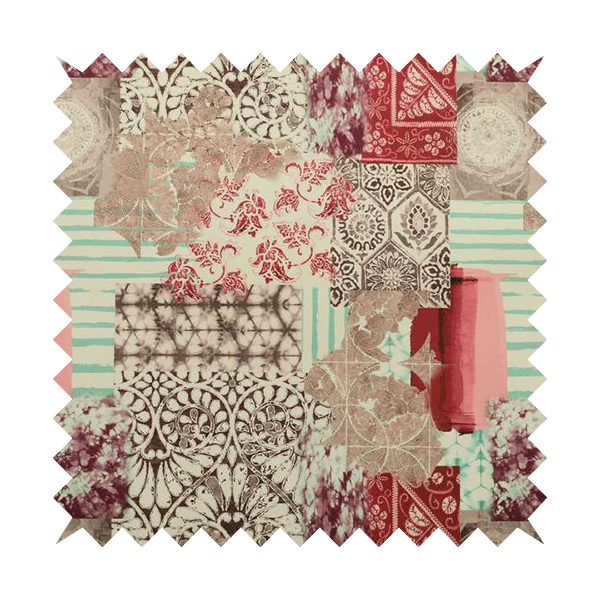 Freedom Printed Velvet Fabric Collection Geometric Patchwork Pattern In Pink Colour Upholstery Fabric CTR-60