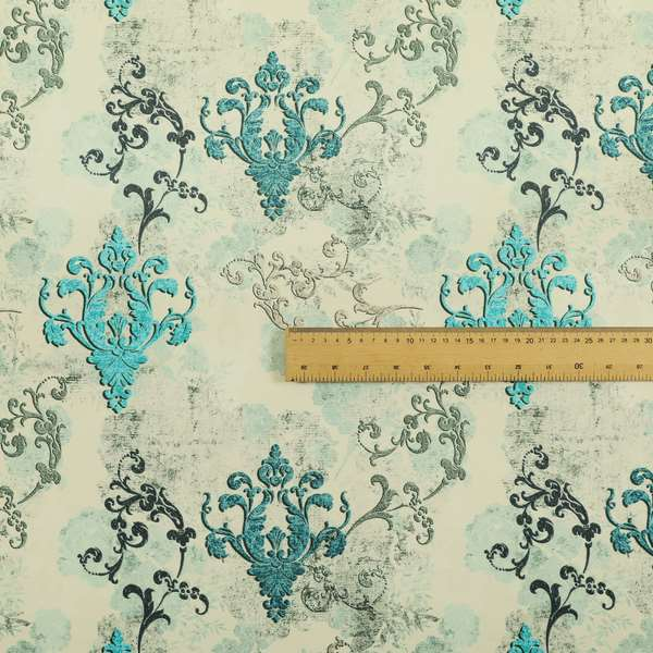 Freedom Printed Velvet Fabric Collection Damask Pattern In Blue Colour Upholstery Fabric CTR-61
