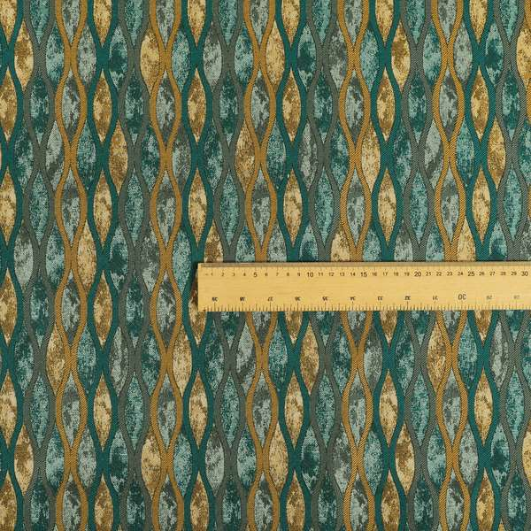 Jangwa Modern Two Tone Stripe Pattern Upholstery Curtains Gold Blue Colour Fabric CTR-627