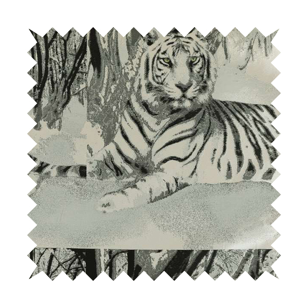 Bruges Life Grey Silver Black Green Eye Tiger Animal Pattern Upholstery Fabric CTR-647