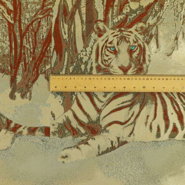 Bruges Life Brown Orange Blue Eye Tiger Animal Pattern Upholstery Fabric CTR-648