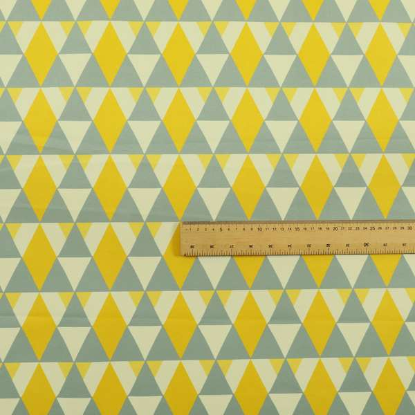Freedom Printed Velvet Fabric Collection Le Triangle Modern Design In Yellow Grey Colours Upholstery Fabric CTR-65