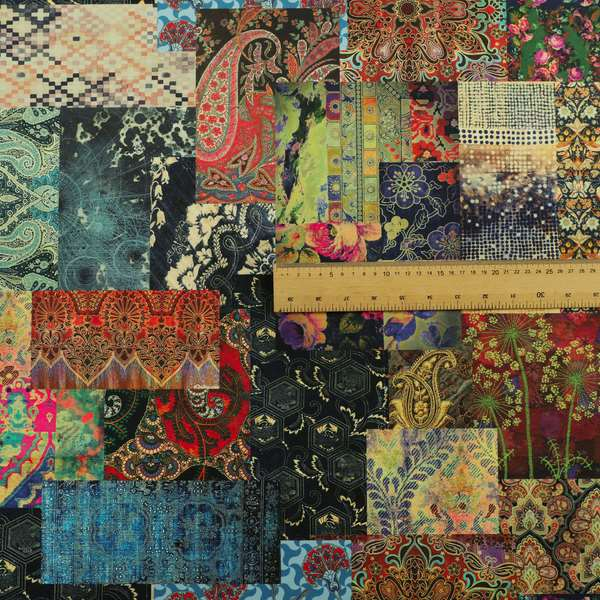 Freedom Printed Velvet Fabric Collection Wonderland Patchwork Pattern In Multi Colours Upholstery Fabric CTR-66