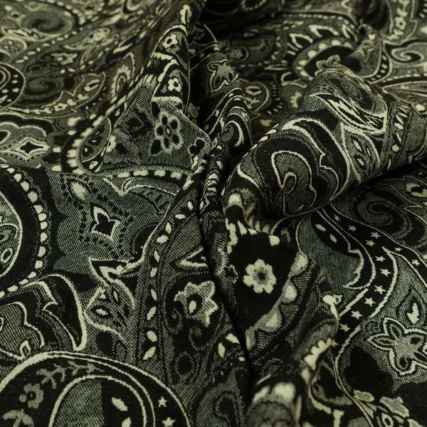 Bruges Life Paisley Pattern Black Chenille Upholstery Curtain Fabric CTR-661