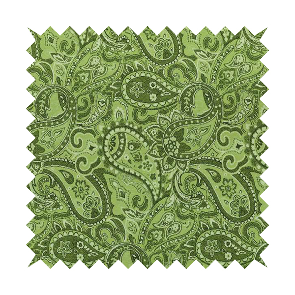Bruges Life Paisley Pattern Green Chenille Upholstery Curtain Fabric CTR-662