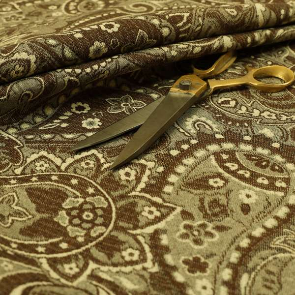 Bruges Life Paisley Pattern Brown Chenille Upholstery Curtain Fabric CTR-664
