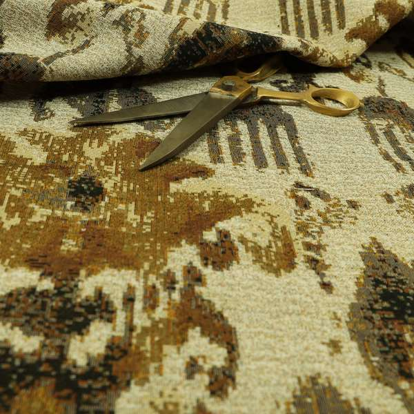 Bruges Life Traditional Pattern Beige Golden Chenille Jacquard Upholstery Fabrics CTR-685