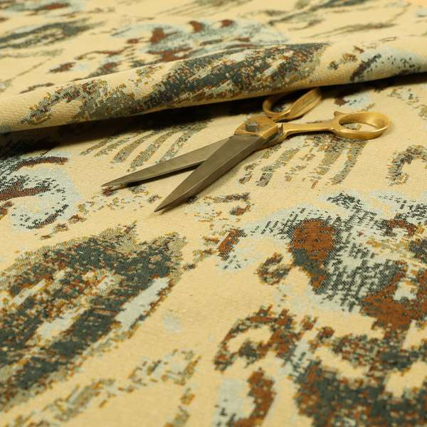 Bruges Life Traditional Pattern In Beige Blue Chenille Jacquard Upholstery Fabrics CTR-686
