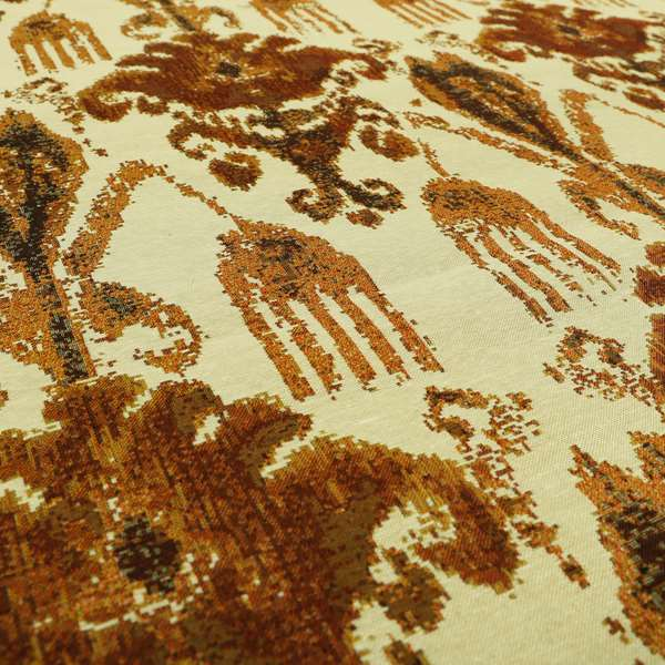 Bruges Life Traditional Pattern Beige Orange Red Chenille Jacquard Upholstery Fabric CTR-687