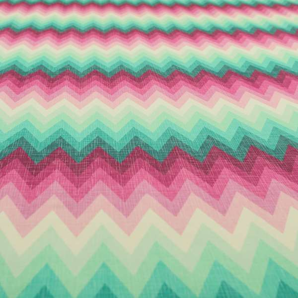 Freedom Printed Velvet Fabric Collection Chevron Striped Pink Blue Green Colour Upholstery Fabric CTR-69