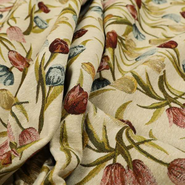 Bruges Life Colourful Tulip Floral Pattern Beige Green Blue Red Jacquard Upholstery Fabrics CTR-690