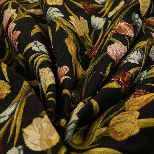Bruges Life Colourful Tulip Floral Pattern Black Green Blue Red Jacquard Upholstery Fabrics CTR-691