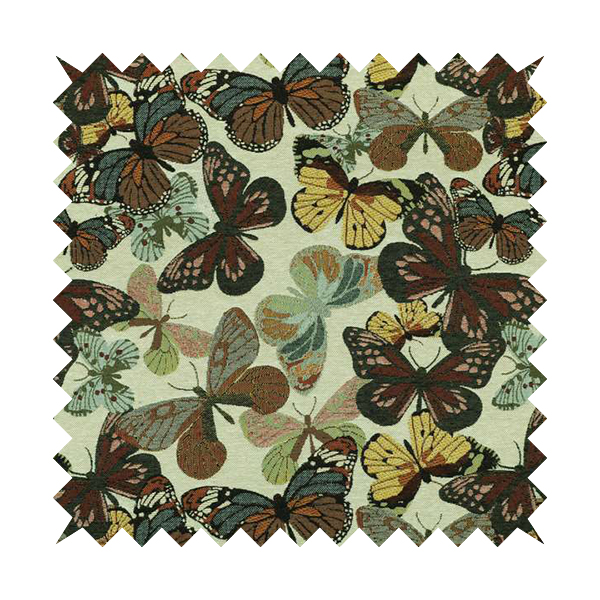 Bruges Life Colourful All Over Butterfly Pattern Jacquard Chenille Upholstery Fabrics CTR-708
