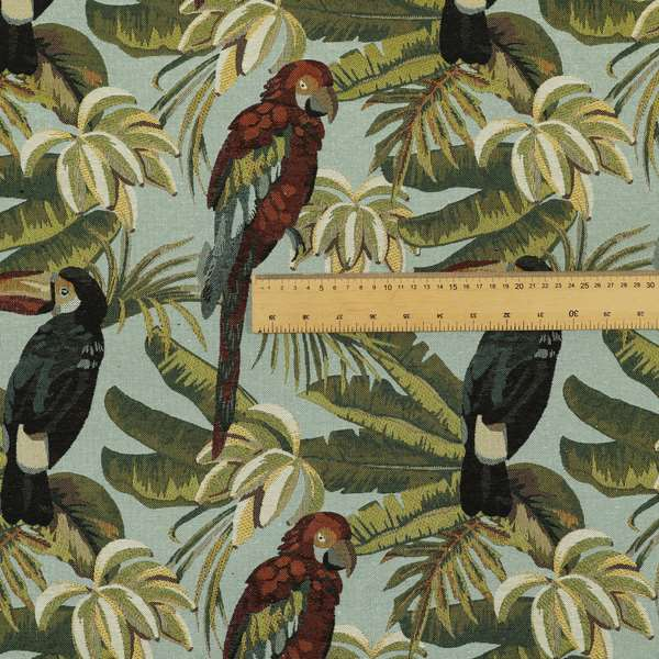 Bruges Life Parrot All Over Pattern Blue Green Red Black Jacquard Upholstery Fabrics CTR-710