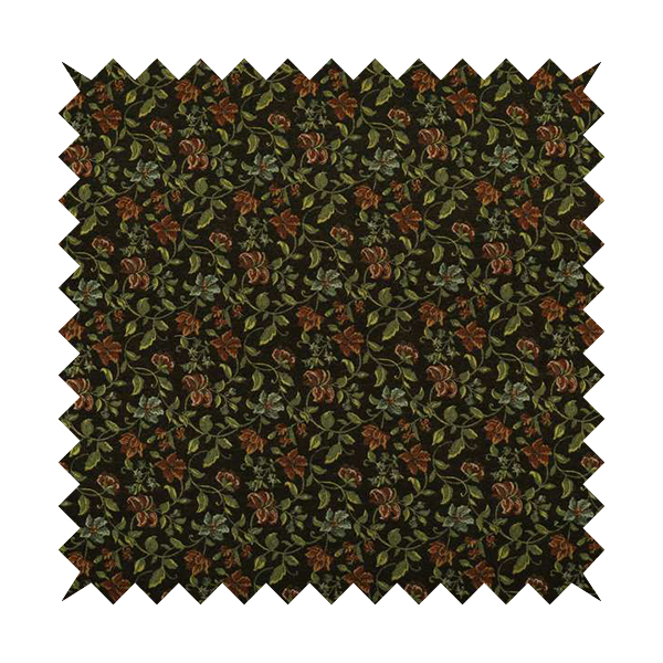 Bruges Life Red Green Blue Floral All Over Pattern Black Chenille Upholstery Fabric CTR-715