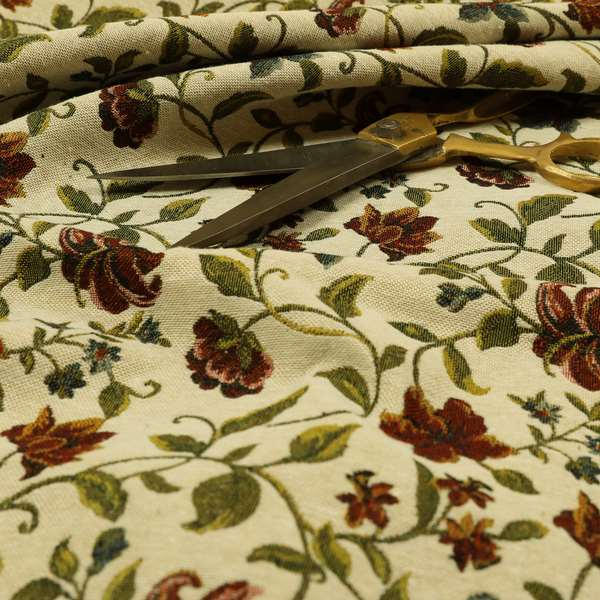 Bruges Life Red Green Blue Floral All Over Pattern White Chenille Upholstery Fabric CTR-716