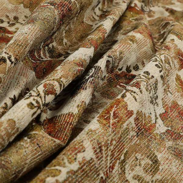 Bruges Life All Over Floral Pattern Orange Colour Chenille Jacquard Upholstery Fabrics CTR-719