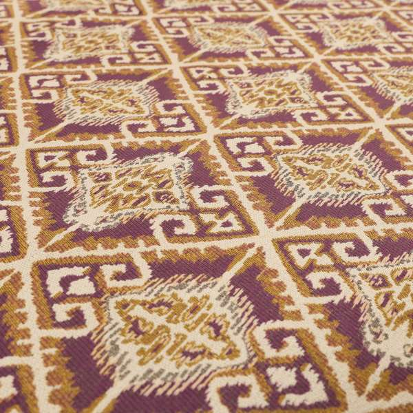 Trapeze Mexican Kilim Theme Pattern Purple Golden Yellow Chenille Upholstery Fabrics CTR-791