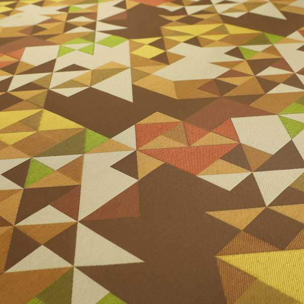 Hawaii Modern Geometric Brown Yellow Green Pattern Curtain Upholstery Fabrics CTR-829