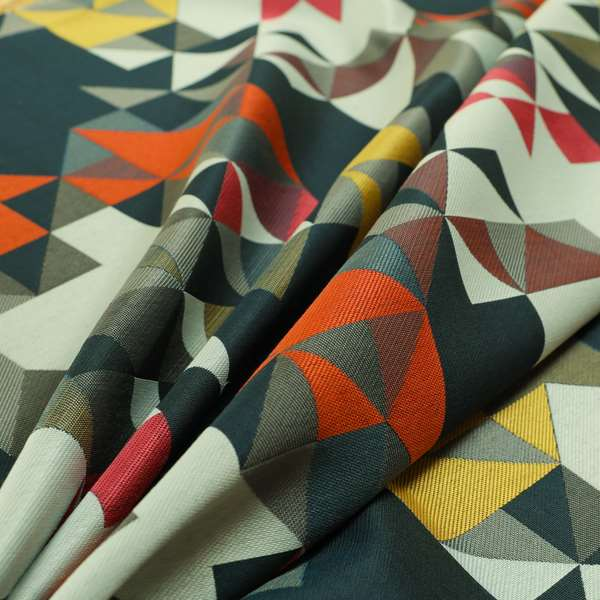 Hawaii Modern Geometric Blue Orange Yellow Pink Pattern Curtain Upholstery Fabrics CTR-831