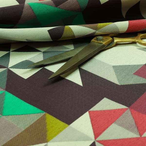 Hawaii Modern Geometric Teal Green Purple Pattern Curtain Upholstery Fabrics CTR-832