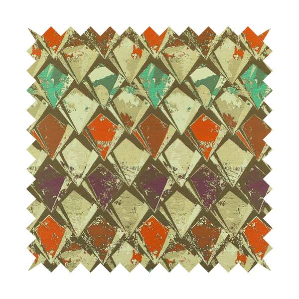 Hawaii Modern Diamond Geometric Pattern Teal Orange Purple Chenille Upholstery Fabrics CTR-833
