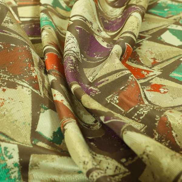 Hawaii Modern Diamond Geometric Pattern Teal Orange Purple Chenille Upholstery Fabrics CTR-833