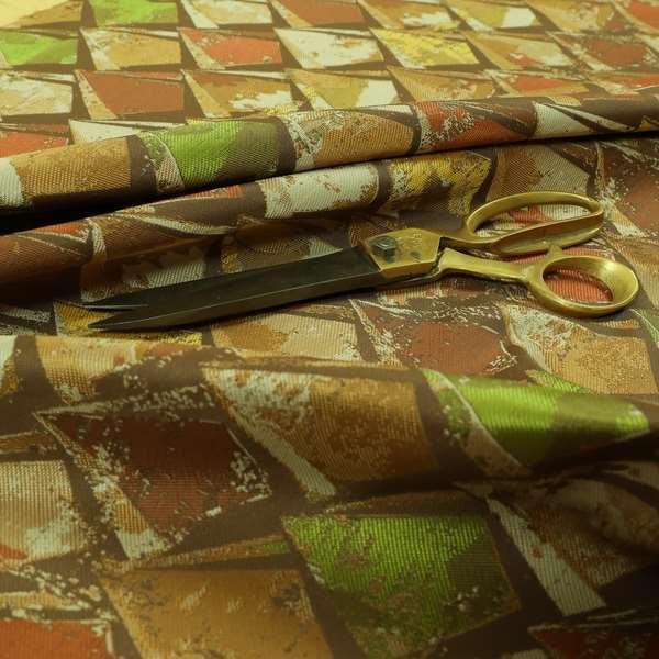 Hawaii Modern Diamond Geometric Pattern Orange Brown Yellow Chenille Upholstery Fabrics CTR-834