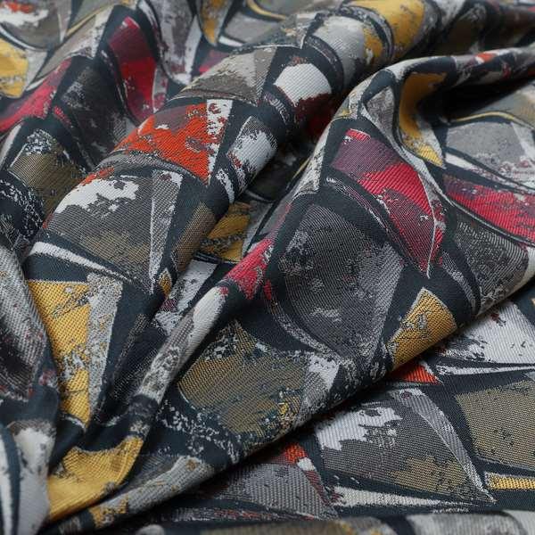 Hawaii Modern Diamond Geometric Pattern Grey Pink Yellow Chenille Upholstery Fabrics CTR-835