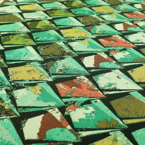 Hawaii Modern Diamond Geometric Pattern Teal Green Yellow Chenille Upholstery Fabrics CTR-836