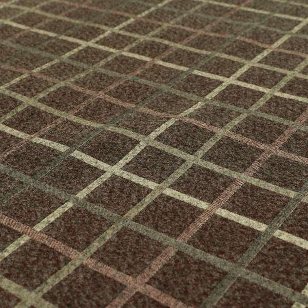 Burgundy Red Tartan Scottish Pattern Soft Touch Wool Effect Furnishing Fabric