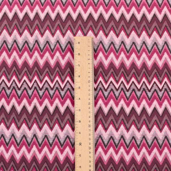 Freedom Printed Velvet Fabric Collection Modern Chevron Striped Pink Purple Colour Upholstery Fabric CTR-87