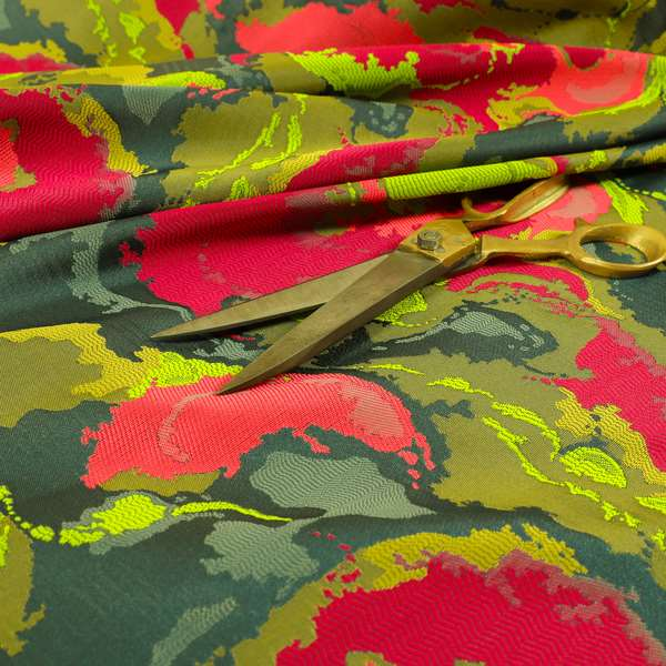 Havana Camouflage Multi Coloured Pattern Green Pink Blue Colour Chenille Upholstery Fabric CTR-885