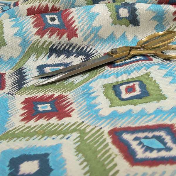 Tracey Geometric Printed Pattern Blue Green Colour Chenille Upholstery Curtain Fabrics